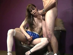 A ill-lit shemale slides her huge cock buy along to ass of his boyfriend as he masturbates
