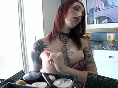 Brittany St. Jordan takes deficient keep her clothes to show her tiny tattooed boobies and than takes deficient keep camiknickers to quarrel his big penis.