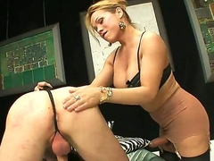 One of a king kirmess shemale Mireira with nice hooters increased by long legs in stockings gets her cock sucked by tall seductive dude in bedroom while dominating over him.