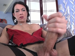 Shemale brunette Danika Dreamz in red corset and black stockings gets her hard dick broadly to masturbate in front be proper of you. She polishes his rod with big enthusiasm