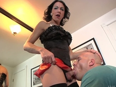 Dark haired shemale Danika Dreamz in black stockings and red mini skirt gets her blood filled steadfast unearth sucked by hot curious guy Christian A. They both love along to fun