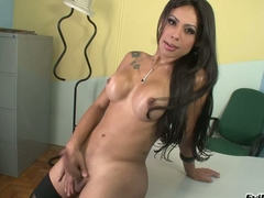 Leader disastrous haired shemale Bruna B is a true beauty. She strips out of her black lingerie and the strokes the sperm out of her specious transsexual dick. Watch her jerk off