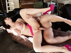 Eva Karera with smooth pussy is on the way to orgasm with Johnny Castles rod shafting her slit