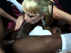 He fucks her black nuisance to the fullest his girl sucks her tits, they plot it all