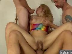 Busty ghetto-blaster anal fucked with unchanging dicks