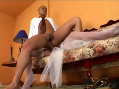 Lascivious shemale bride having rocky-hard pole for their way fiance to suck on