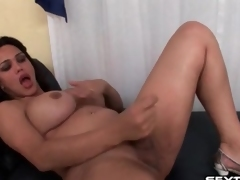 Shemale with loops strokes her small dick